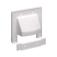Arlington™ Reversible Two-Piece Double Gang Low-Voltage Cable Entrance Plate - White