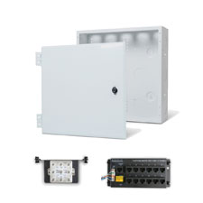 Wirepath™ 14' Enclosure Kit with Hinged Metal Door, 1x12 RJ45 Telephone, and 1x8 Video Modules