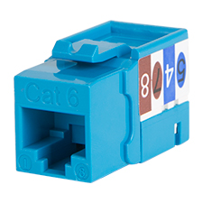Wirepath™ Cat 6 RJ45 UTP Keystone Insert - 90 Degree (Blue)