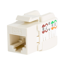 Wirepath™ Cat6a RJ45 UTP Keystone Insert - 90 Degree – Light Almond