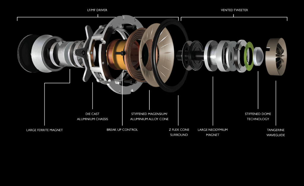 Exploded view of interior of speaker