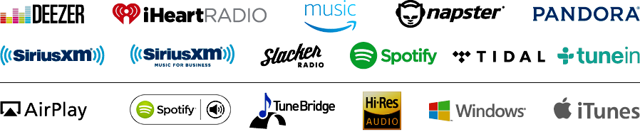 Image of streaming services that eAudioCast works with