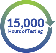 15000 hours of testing icon for Araknis Lab