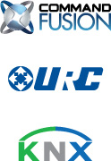 Command Fusion, URC and KNX logos