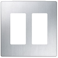 Lutron® Claro 2-Gang Wallplate - (Stainless Steel)