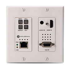 Atlona® Conferencing Wallplate Switcher for HDMI and VGA with Ethernet-Enabled HDBaseT Output - 2x1 | White