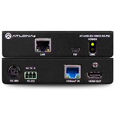 Atlona® 4K/UHD Power Sourcing HDMI HDBaseT Receiver with Ethernet, Control, and PoE
