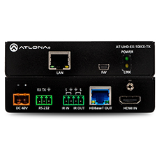 Atlona® 4K/UHD HDMI HDBaseT TX/RX with Ethernet, Control, PoE, and Return Optical Audio