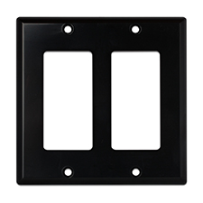 Wirepath™ Decorative Double Gang Wall Plate - Black