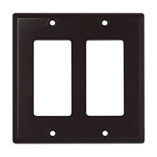 Wirepath™ Decorative Double Gang Wall Plate - Brown