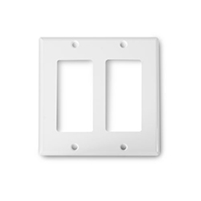 Wirepath™ Decorative Double Gang Wall Plate - White