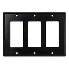 Wirepath™ Decorative Triple Gang Wall Plate - Black