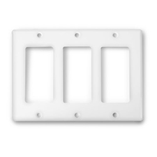 Wirepath™ Decorative Triple Gang Wall Plate - White