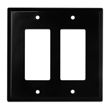 Wirepath™ Midi Decorative Double Gang Wall Plate - Black