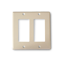 Wirepath™ Midi Decorative Double Gang Wall Plate - Ivory