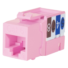 Wirepath™ Cat 6 RJ45 UTP Keystone Insert - 90 Degree (Pink)