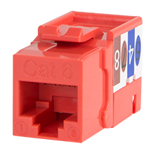 Wirepath™ Cat 6 RJ45 UTP Keystone Insert - 90 Degree (Red)