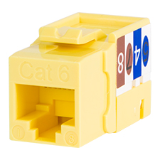 Wirepath™ Cat 6 RJ45 UTP Keystone Insert - 90 Degree (Yellow)