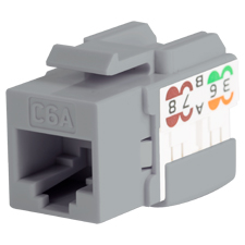 Wirepath™ Cat6a RJ45 UTP Keystone Insert - 90 Degree Grey