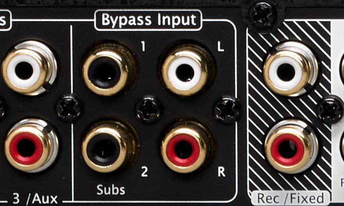 Zoomed-in view of Bypass inputs on back of amp
