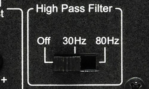 High pass filter on back of amp