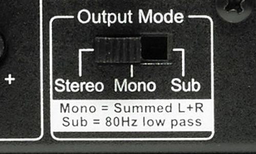 Output mode switchs for stereo, mono, or sub