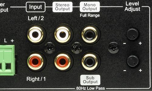Stereo and Mono outputs on back of amp
