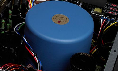 View of toroid transformer inside amp