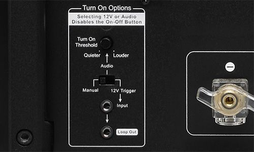 Zoomed-in view of turn on options