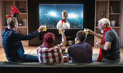 Men sitting around a TV displaying sports