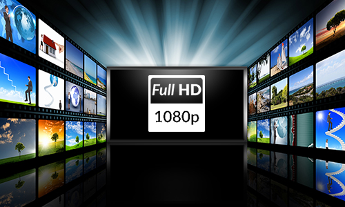 1080 HD logo with multiple TV displays in the background