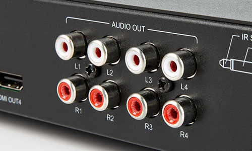 Close-up of audio output ports