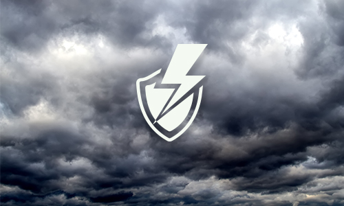 Surge protection icon with storm clouds in background