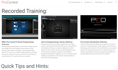 Screenshot of training videos