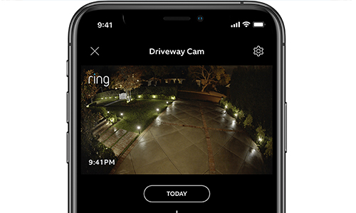 Ring app showing real-live-view
