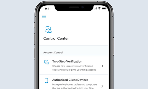 Ring control center on mobile device