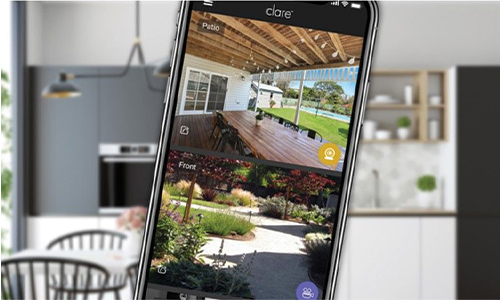 Smart home displaying app with camera views