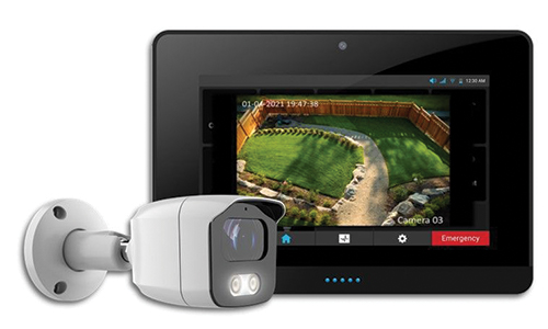 Bullet camera with tablet displaying camera view
