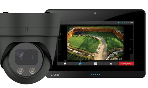 Dome camera with tablet displaying camera view