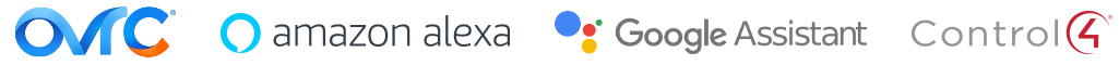 OvrC, Amazon Alexa, Google Assistant, and Control4 logos