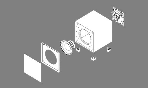 Drawing of exploded view of subwoofer with all parts