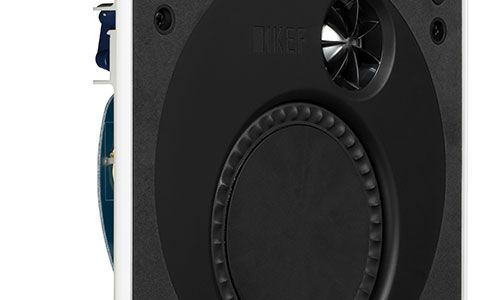 Angled view of black and white Ventura speakers