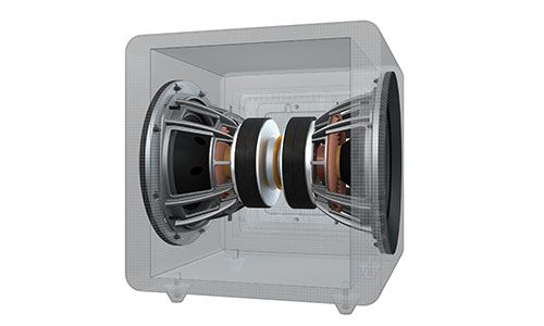 3D computer rendering of inside of subwoofer showing drivers