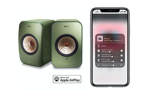 KEF LSX speakers next to iPhone displaying the app