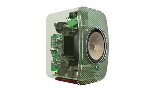 KEF LSX speaker 3D computer rendering with view of all interior parts