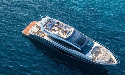 Bird's eye view of yacht in water