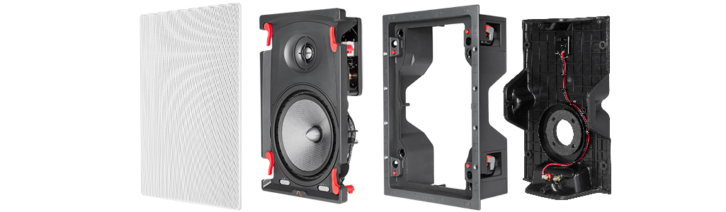 Grille, speaker, cradle and enclosure expanded horizonally