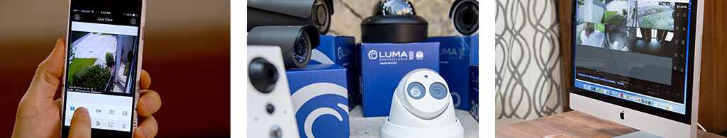 Banner image showing smartphone with Luma app, group of Luma cameras, and a monitor showing camera views