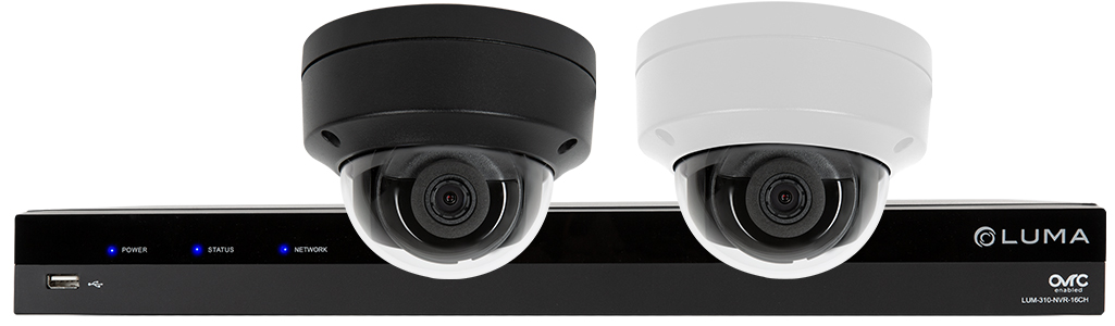 Luma white and gray dome cameras in front of Luma NVR