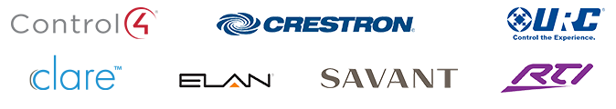 Logos of control brands that are compatible with Luma - Control4, Crestron, URC, Clare, Elan, Savant, and RTI